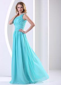 One Shoulder Ruched Elegant Evening Dresses for Women in Aqua Blue