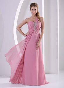 Nice Rose Pink One Shoulder Chiffon Ladies Evening Dress with Beading