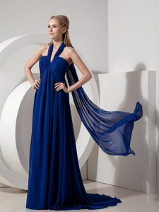 Perfect Navy Blue Halter Top Watteau Train Evening Gown Dress