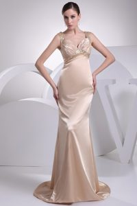 Wide Straps Brush Train Elegant Women Evening Dresses in Champagne