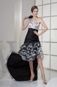 High Low One Shoulder Evening Dresses with Ruffled Layers on Promotion