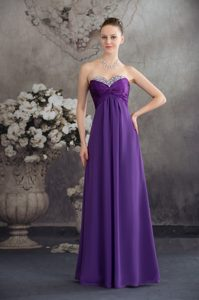 Cheap Beaded and Ruched Long Ladies Evening Dresses in Purple