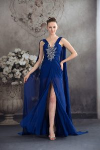 Pretty Beaded and Ruched Royal Blue Women Evening Dress with Watteau