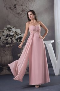Pretty Baby Pink Sweetheart Ankle-length Evening Dresses with Beading