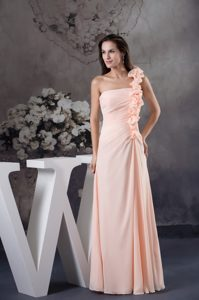 Light Pink One Shoulder Long Low Price Women Evening Dresses