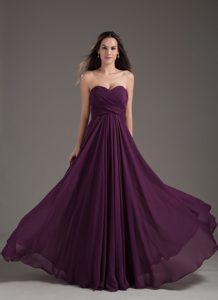 Sweetheart Empire Dark Purple Ruched Long Elegant Evening Dresses
