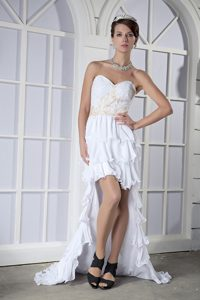 Sweetheart High-low Chiffon Vintage Evening Dresses with Bead in White