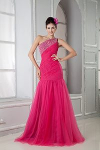 Latest Coral Red Mermaid One Shoulder Beaded Maternity Evening Dress