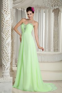 Yellow Green Empire Sweetheart Beaded Women Evening Dress with Brush Train