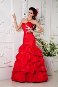 Beautiful Red Mermaid Sweetheart Evening Dresses for Women with Pick-ups