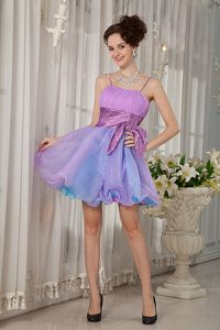 Colorful A-line Straps Cocktail Evening Dress in Organza with Beading and Ruche