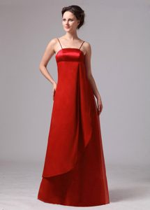 Empire Wine Red Classy Evening Dresses with Spaghetti Straps for Fall