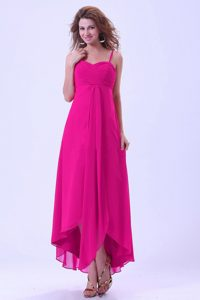 Cheap Spaghetti Straps Chiffon Evening Dress in Hot Pink with Ruches on Sale
