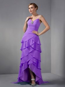 Pretty Eggplant Purple Evening Wear Dresses with Straps and Layers