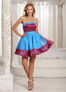 Stylish 2013 Zebra A-line Evening Wear Dresses in Aqua Blue with Mini-length