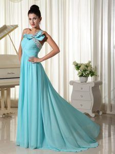 One Shoulder Aqua Blue Evening Dresses for Women with Beads and Ruches