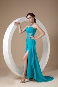 Sweetheart Ruched Classy Evening Dresses with Appliques and High Slit in Teal