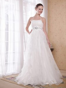 Princess Halter-top Organza Evening Gown Dresses in White with Beads for Fall