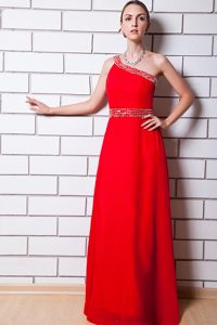 Dressy Beading Chiffon Evening Dresses for Women with One Shoulder in Red
