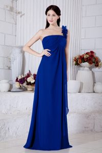Royal Blue One Shoulder Evening Gown Dresses with Handle Flowers