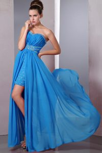 Chiffon Ruched High-low Informal Evening Dresses in Aqua Blue with Beadings