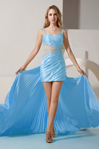 Cheap Aqua Blue Straps Designer Evening Dress with Pleats and Cutouts on Sale