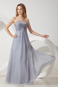 High Quality 2013 Gray Ruching Womens Evening Dress with Beads
