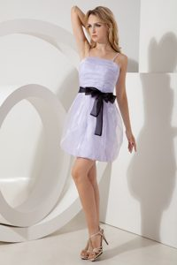 Pretty Ruching Organza Evening Wear Dress with Black Sash and Straps in Lilac