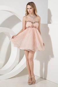 Sweetheart Ruching Baby Pink Women Evening Dress with Beadings in Organza