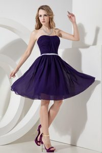 Purple Princess Strapless Evening Dress with Ruches and White Sash