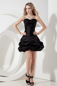 Princess Sweetheart Short Black Evening Wear Dress with Sequins and Pick-ups