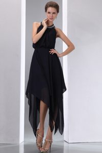 2013 Halter-top High-low Chiffon Informal Evening Dress with Beadings in Black