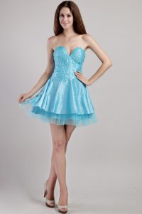 2013 Sweetheart Mini-length Evening Dresses with Beadings in Aqua Blue