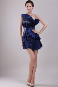 Navy Blue One Shoulder Evening Wear Dresses with Beads and Pleats in Taffeta