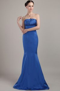 Blue Mermaid Strapless Prom Evening Dresses with Beadings for Spring