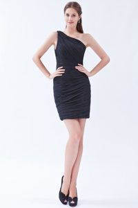 Mini-length Black Evening Wear Dresses for Cocktail with One Shoulder on Sale