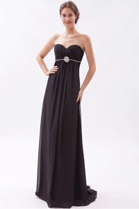 Ruching and Beading Womens Evening Dresses with Sweetheart in Black