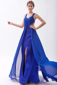 2013 Royal Blue Straps Prom Evening Dresses and Chiffon with Ruches
