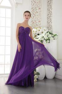 Sweetheart Long Chiffon Women Evening Dresses with Beads in Purple
