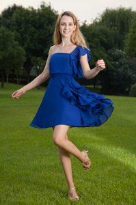 Blue Single Shoulder Mini-length Prom Evening Dresses with Ruffles