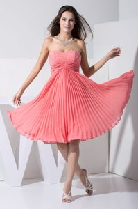 Ruched Cocktail Evening Dress with Beading Decorated and Sweetheart Neckline