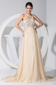 Beading Decorated Evening Dresses with Sweep Train and Asymmetrical Neckline