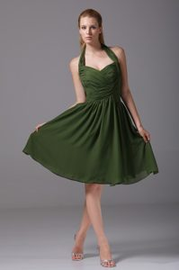 Brand New Halter Top Ruched Dark Green Semi-formal Evening Dresses for Cheap