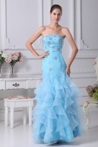 Aqua Blue Ankle-length Strapless Ruffled Formal Evening Dresses with Beading