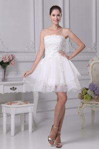 Organza Strapless Short White Cocktail Evening Dresses with Appliques for Cheap