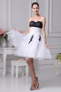 Black and White Organza Sweetheart Beaded Semi-formal Evening Dress for Girls