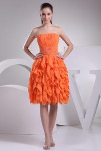 Beautiful Orange Ruched Knee-length Cocktail Evening Dress with Ruffles on Sale