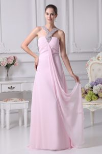 Empire Ruched Baby Pink Informal Evening Dress with Beaded Neckline for Girls