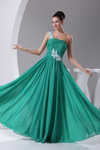One Shoulder Chiffon Semi-formal Evening Dress with Appliques for Cheap