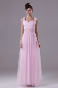 Wide Straps Sweetheart Ankle-length Pageant Evening Gowns with Beaded Waist